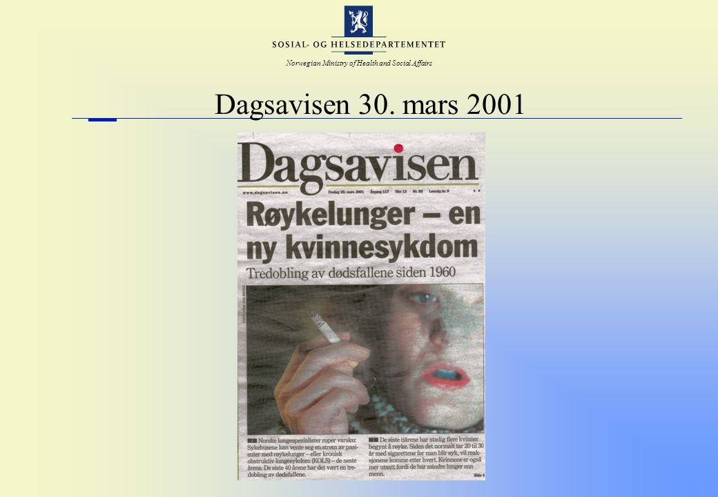 Norwegian Ministry of Health and Social Affairs Dagsavisen 30. mars 2001