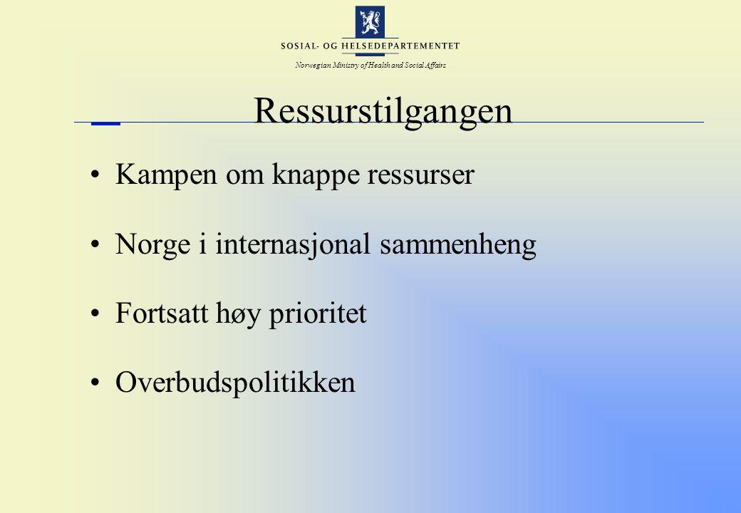 Norwegian Ministry of Health and Social Affairs Ressurstilgangen Kampen om knappe ressurser Norge i internasjonal sammenheng Fortsatt høy prioritet Ov