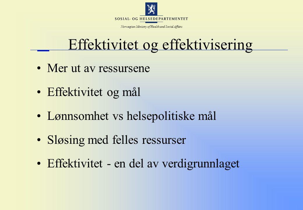 Norwegian Ministry of Health and Social Affairs Effektivitet og effektivisering Mer ut av ressursene Effektivitet og mål Lønnsomhet vs helsepolitiske