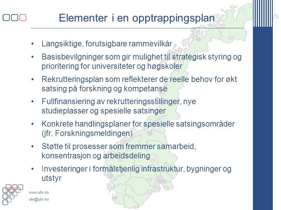 www.uhr.no uhr@uhr.no Elementer i en opptrappingsplan Langsiktige, forutsigbare rammevilkår Basisbevilgninger som gir mulighet til strategisk styring