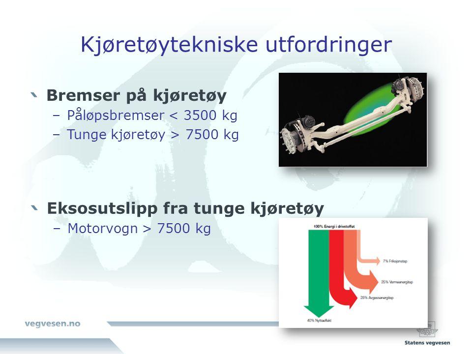 Kjøretøytekniske utfordringer Bremser på kjøretøy –Påløpsbremser < 3500 kg –Tunge kjøretøy > 7500 kg Eksosutslipp fra tunge kjøretøy –Motorvogn > 7500 kg