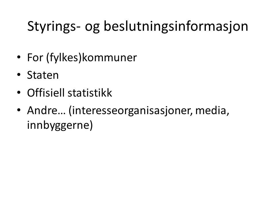 Styrings- og beslutningsinformasjon For (fylkes)kommuner Staten Offisiell statistikk Andre… (interesseorganisasjoner, media, innbyggerne)