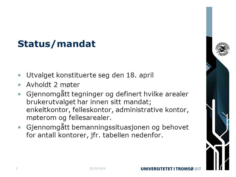 Status/mandat Utvalget konstituerte seg den 18. april Avholdt 2 møter Gjennomgått tegninger og definert hvilke arealer brukerutvalget har innen sitt m