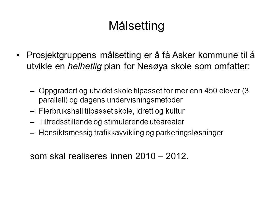 Målsetting Prosjektgruppens målsetting er å få Asker kommune til å utvikle en helhetlig plan for Nesøya skole som omfatter: –Oppgradert og utvidet skole tilpasset for mer enn 450 elever (3 parallell) og dagens undervisningsmetoder –Flerbrukshall tilpasset skole, idrett og kultur –Tilfredsstillende og stimulerende utearealer –Hensiktsmessig trafikkavvikling og parkeringsløsninger som skal realiseres innen 2010 – 2012.