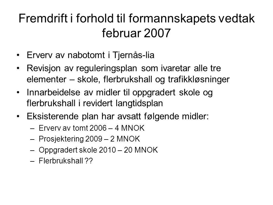 Fremdrift i forhold til formannskapets vedtak februar 2007 Erverv av nabotomt i Tjernås-lia Revisjon av reguleringsplan som ivaretar alle tre elementer – skole, flerbrukshall og trafikkløsninger Innarbeidelse av midler til oppgradert skole og flerbrukshall i revidert langtidsplan Eksisterende plan har avsatt følgende midler: –Erverv av tomt 2006 – 4 MNOK –Prosjektering 2009 – 2 MNOK –Oppgradert skole 2010 – 20 MNOK –Flerbrukshall