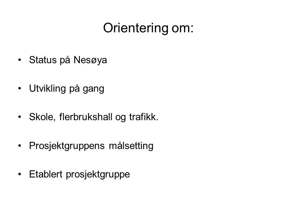 Orientering om: Status på Nesøya Utvikling på gang Skole, flerbrukshall og trafikk.