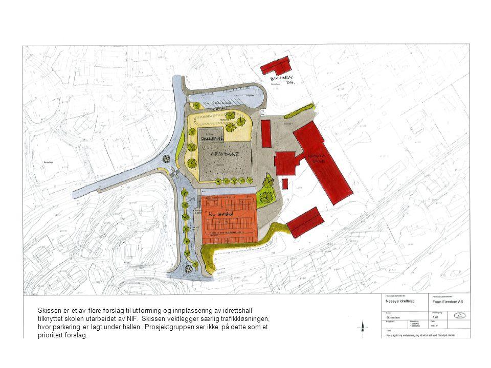 Nesøya skole Skissen er et av flere forslag til utforming og innplassering av idrettshall tilknyttet skolen utarbeidet av NIF.