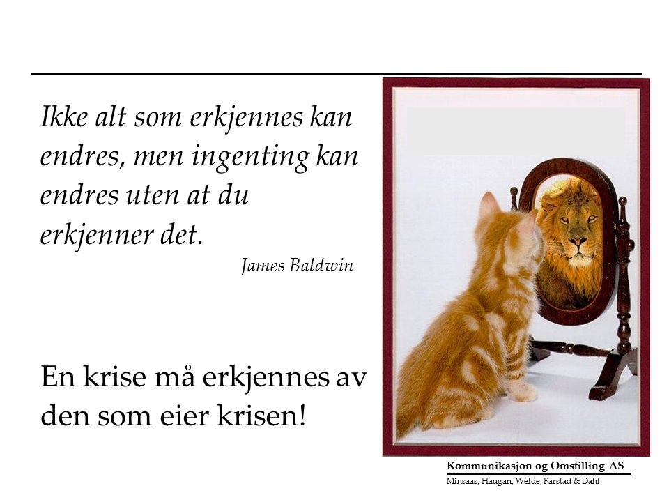 Kommunikasjon og Omstilling AS Minsaas, Haugan, Welde, Farstad & Dahl Ikke alt som erkjennes kan endres, men ingenting kan endres uten at du erkjenner det.