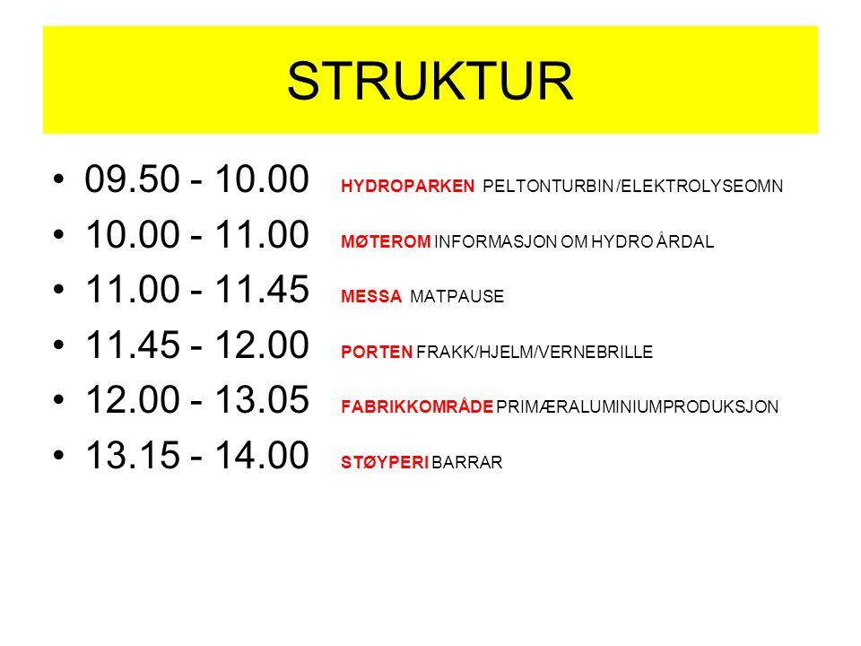 STRUKTUR 09.50 - 10.00 HYDROPARKEN PELTONTURBIN /ELEKTROLYSEOMN 10.00 - 11.00 MØTEROM INFORMASJON OM HYDRO ÅRDAL 11.00 - 11.45 MESSA MATPAUSE 11.45 - 12.00 PORTEN FRAKK/HJELM/VERNEBRILLE 12.00 - 13.05 FABRIKKOMRÅDE PRIMÆRALUMINIUMPRODUKSJON 13.15 - 14.00 STØYPERI BARRAR