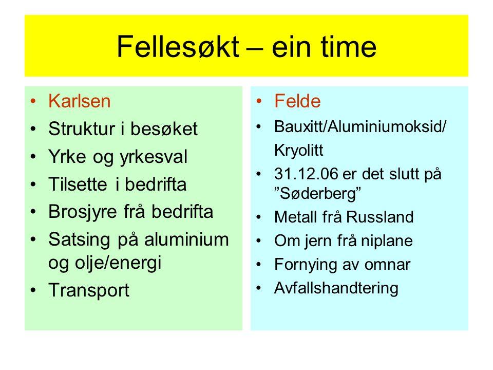 Fellesøkt – ein time Karlsen Struktur i besøket Yrke og yrkesval Tilsette i bedrifta Brosjyre frå bedrifta Satsing på aluminium og olje/energi Transpo