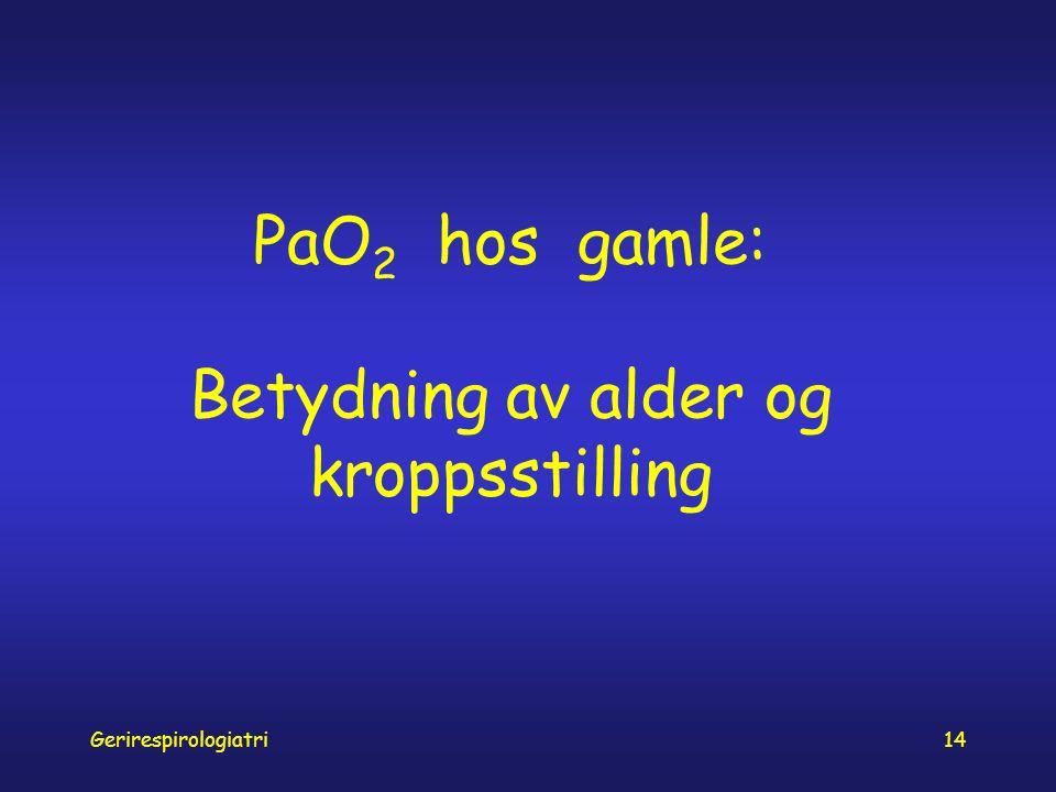 Gerirespirologiatri14 PaO 2 hos gamle: Betydning av alder og kroppsstilling