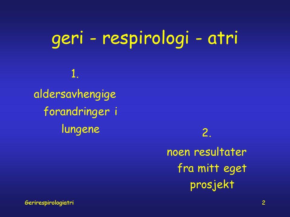 Gerirespirologiatri3 hos eldre er lungene … slappere (tap av elastisitet) stivere (tilstivning i brystkasse) svakere (svekkelse av respirasjonsmuskler)