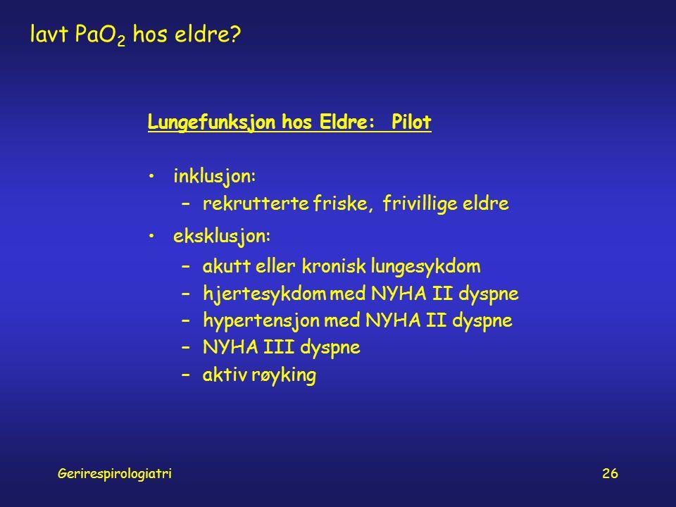 Gerirespirologiatri26 lavt PaO 2 hos eldre.
