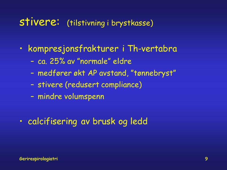 Gerirespirologiatri9 stivere: (tilstivning i brystkasse) kompresjonsfrakturer i Th-vertabra –ca.