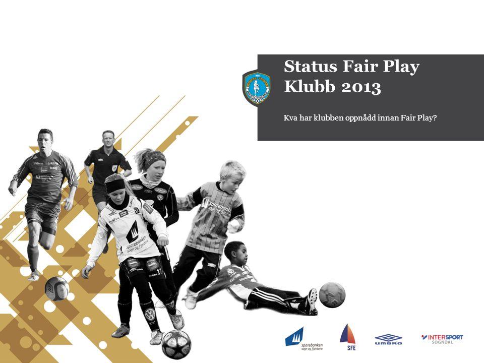 Status Fair Play Klubb 2013 Kva har klubben oppnådd innan Fair Play