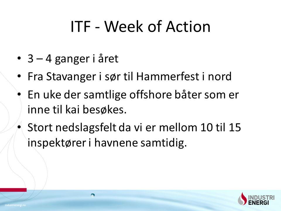 ITF - Week of Action 3 – 4 ganger i året Fra Stavanger i sør til Hammerfest i nord En uke der samtlige offshore båter som er inne til kai besøkes.