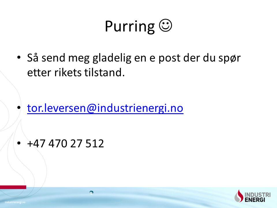 Purring Så send meg gladelig en e post der du spør etter rikets tilstand. tor.leversen@industrienergi.no +47 470 27 512