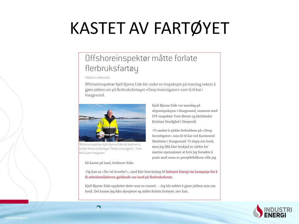 Tillittsvalgt i Deepwell Kristian Nordgård drar oss gjennom besøket på Husøy basen