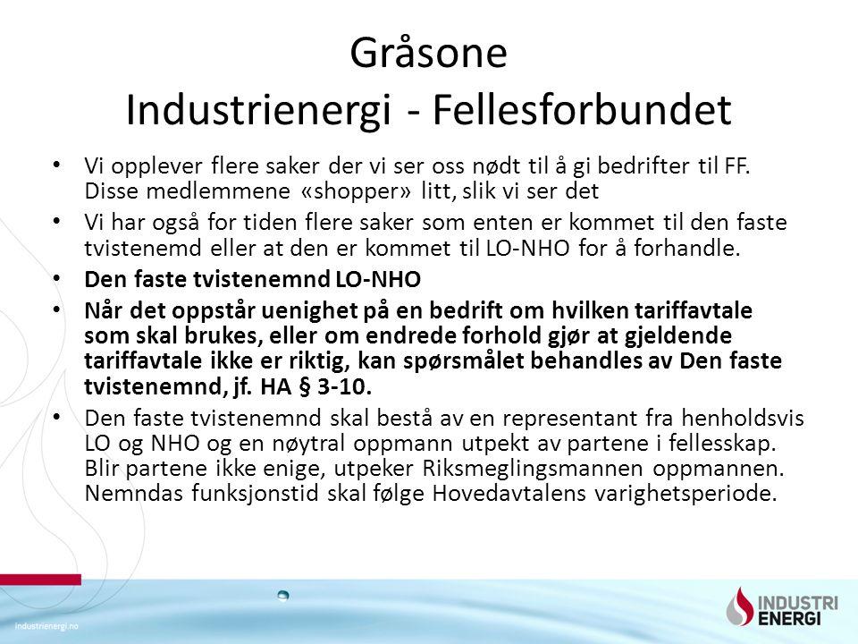 Gråsone Industrienergi - Fellesforbundet Vi opplever flere saker der vi ser oss nødt til å gi bedrifter til FF.
