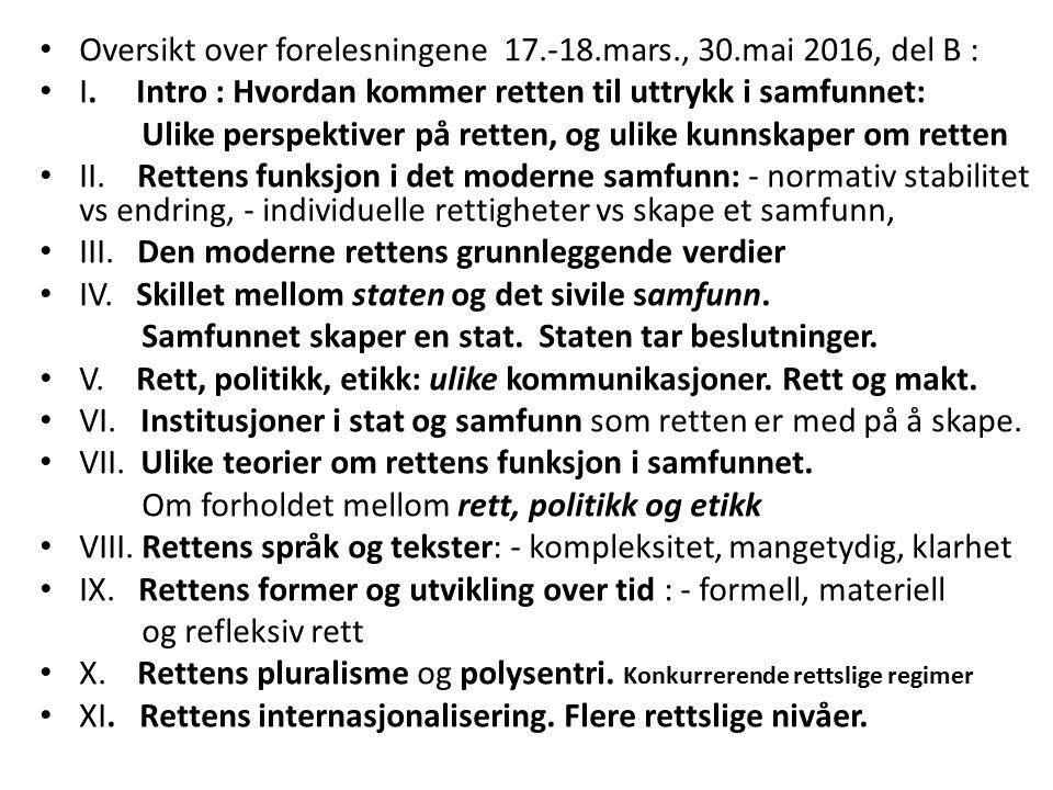 Rett og lovgivning på flere nivåer samtidig : - det nasjonalstatlige, (Gr.l §§ 3, 12, 15, 31, 75, 88 m fl) - det regionale, - det overnasjonale,, (§115) EØS - handel, miljø, sosial, - ESA, EFTA-domst., (§115) (EU, CJEU) (lovgivende, utøvende, dømmende) EMK / EMD – menneskerettigheter, (dømmende) - det internasjonale, (traktater, organisasjoner) (§26 annet l.) - FN, - krig / fred, flyktninger, mrh., - Sikkerhetsrådet, - ICJ, ICC, (internasjonale domstoler) - WTO, - handel, (judisiell konfliktløsning), - DSB, - Kyoto, - klima og miljø, (traktater, forhandlinger) - det transnasjonale, - finans, handel, - internasjonal standardisering, - INGO´er,