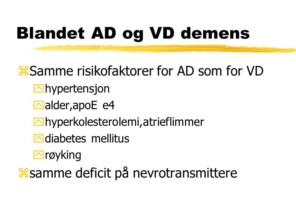 Blandet AD og VD demens zSamme risikofaktorer for AD som for VD yhypertensjon yalder,apoE e4 yhyperkolesterolemi,atrieflimmer ydiabetes mellitus yrøyking zsamme deficit på nevrotransmittere