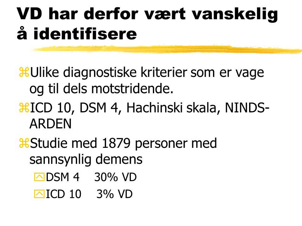 VD har derfor vært vanskelig å identifisere zUlike diagnostiske kriterier som er vage og til dels motstridende.