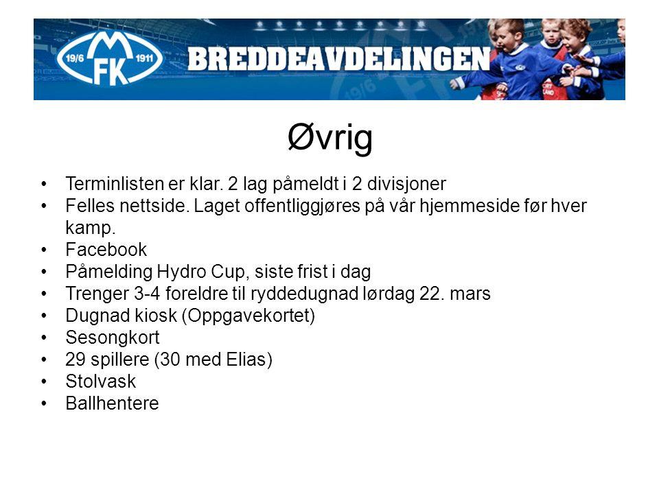 Øvrig Terminlisten er klar. 2 lag påmeldt i 2 divisjoner Felles nettside.