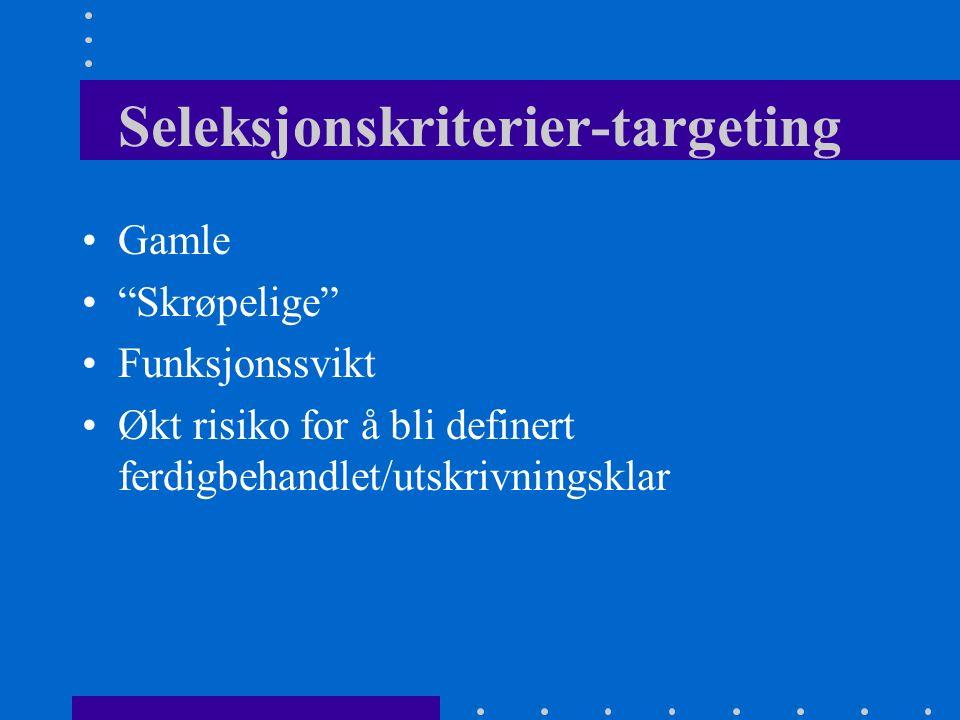 Trondheim 1994-96 Klinisk randomisert studie 254 pasienter Innlagt for ø.hj. Medisinsk avdeling, RiT