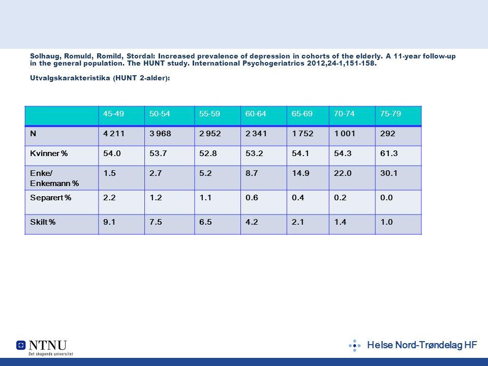 Helse Nord-Trøndelag HF 45-4950-5455-5960-6465-6970-7475-79 N4 2113 9682 9522 3411 7521 001292 Kvinner %54.053.752.853.254.154.361.3 Enke/ Enkemann %
