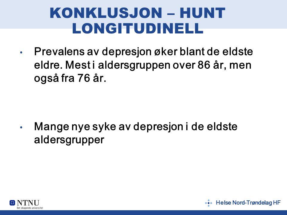Helse Nord-Trøndelag HF KONKLUSJON – HUNT LONGITUDINELL Prevalens av depresjon øker blant de eldste eldre.