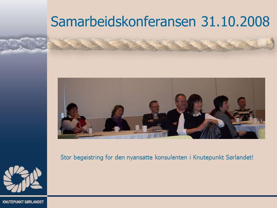 Samarbeidskonferansen 31.10.2008 Stor begeistring for den nyansatte konsulenten i Knutepunkt Sørlandet!