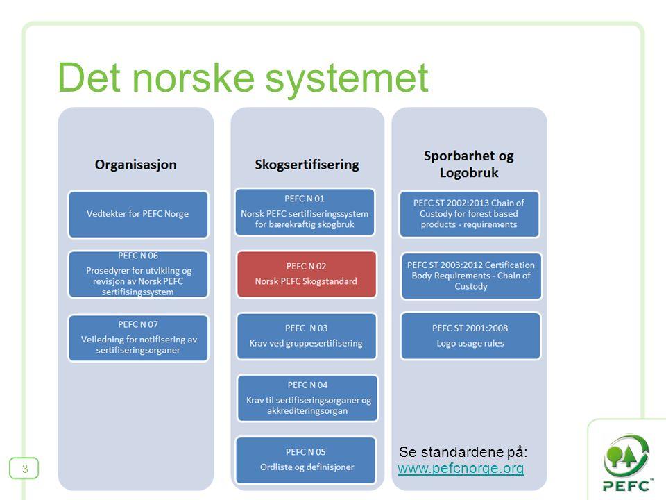Det norske systemet 3 www.pefcnorge.org Se standardene på: