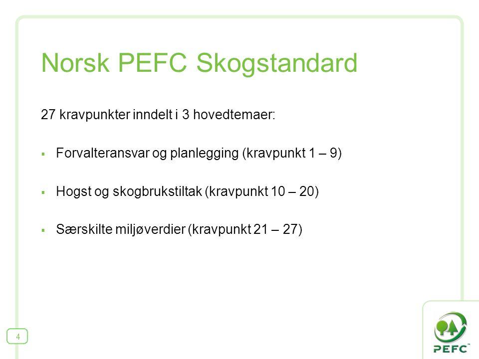 Norsk PEFC Skogstandard 27 kravpunkter inndelt i 3 hovedtemaer:  Forvalteransvar og planlegging (kravpunkt 1 – 9)  Hogst og skogbrukstiltak (kravpun