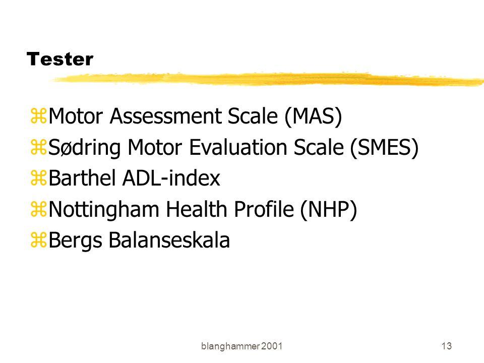 blanghammer 200113 Tester zMotor Assessment Scale (MAS) zSødring Motor Evaluation Scale (SMES) zBarthel ADL-index zNottingham Health Profile (NHP) zBe