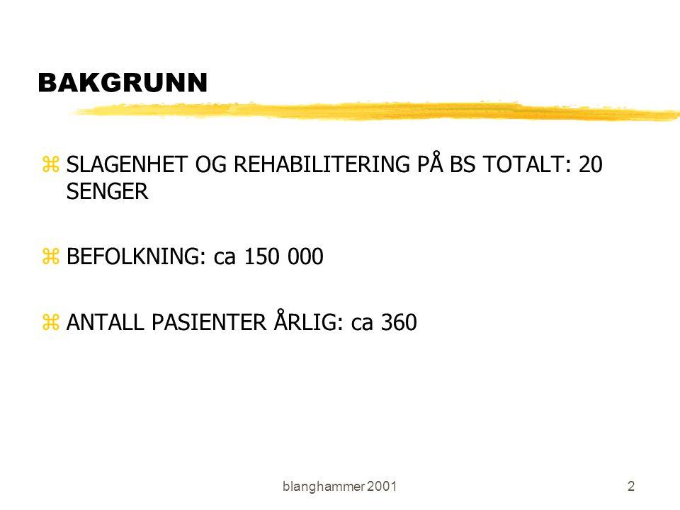 blanghammer 20012 BAKGRUNN zSLAGENHET OG REHABILITERING PÅ BS TOTALT: 20 SENGER zBEFOLKNING: ca 150 000 zANTALL PASIENTER ÅRLIG: ca 360