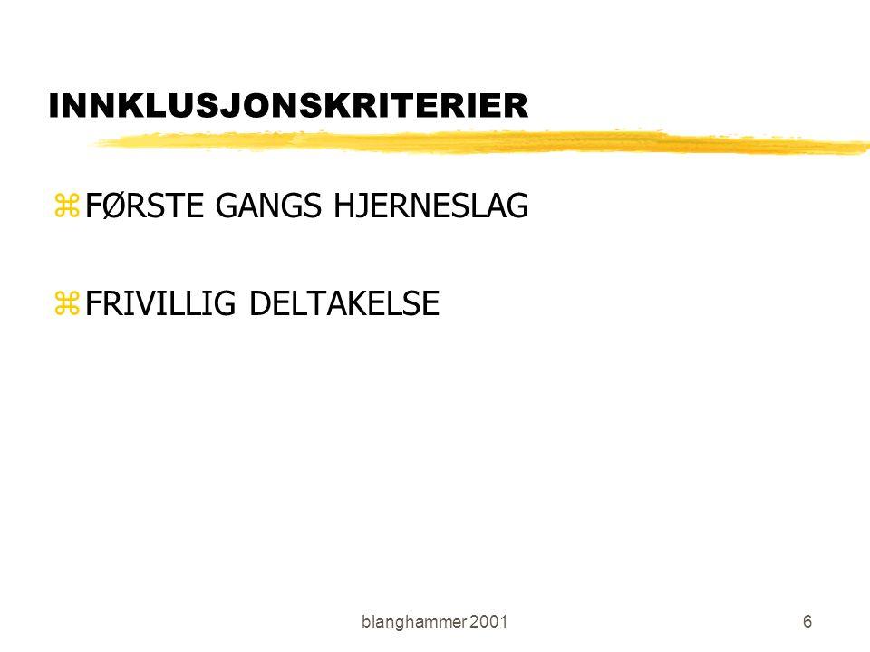 blanghammer 20017 EKSKLUSJONSKRITERIER zMALIGN TILSTAND zKOMATØSE PASIENTER zPASIENTER MED TIDLIGERE HJERNESLAG zSUBARACHNOIDALBLØDNING zBLØDNING ELLER INFARKT I BAKRE KRETSLØP zPASIENTER MED BETYDELIGE SYMPTOMGIVENDE TILLEGGSSYKDOMMER zPASIENTER MED SCORE>5 PÅ HVER AV PUNKTENE PÅ MAS