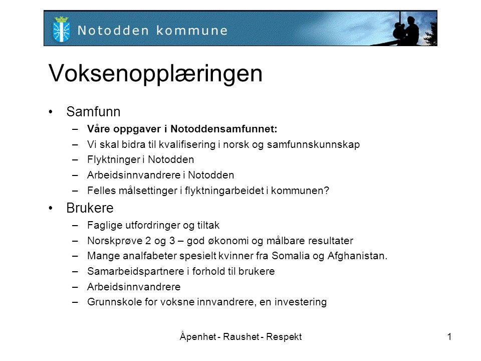 Åpenhet - Raushet - Respekt1 Voksenopplæringen Samfunn –Våre oppgaver i Notoddensamfunnet: –Vi skal bidra til kvalifisering i norsk og samfunnskunnska