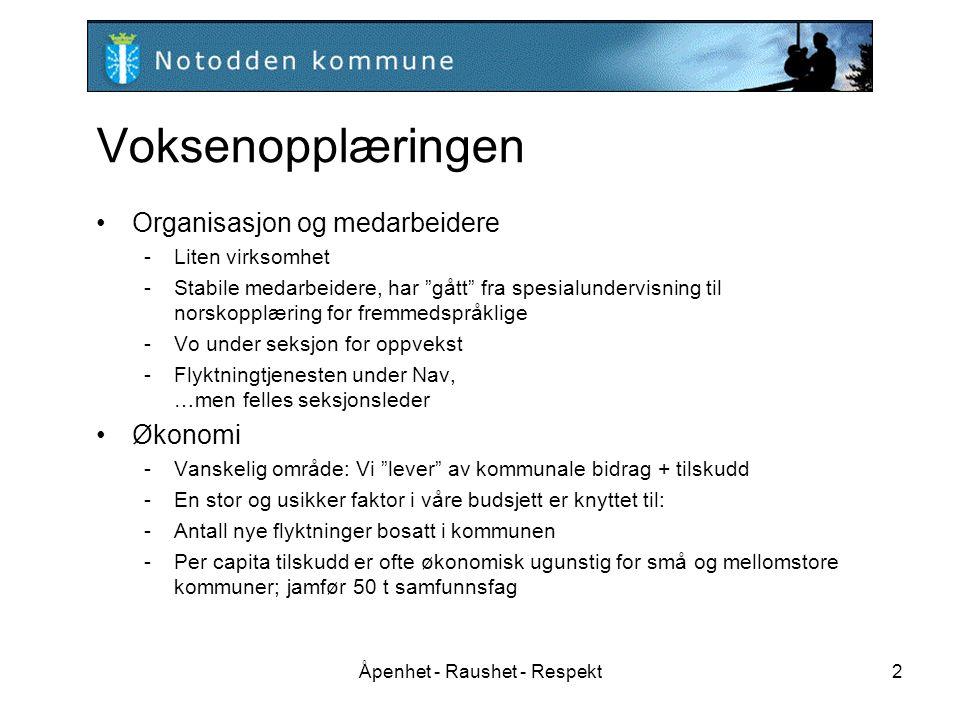 Åpenhet - Raushet - Respekt2 Voksenopplæringen Organisasjon og medarbeidere -Liten virksomhet -Stabile medarbeidere, har gått fra spesialundervisning til norskopplæring for fremmedspråklige -Vo under seksjon for oppvekst -Flyktningtjenesten under Nav, …men felles seksjonsleder Økonomi -Vanskelig område: Vi lever av kommunale bidrag + tilskudd -En stor og usikker faktor i våre budsjett er knyttet til: -Antall nye flyktninger bosatt i kommunen -Per capita tilskudd er ofte økonomisk ugunstig for små og mellomstore kommuner; jamfør 50 t samfunnsfag Forventninger til Fylkesmannen