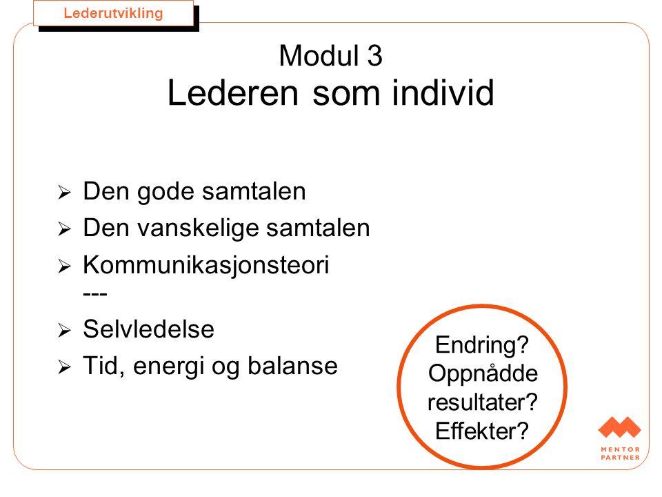 Lederutvikling Modul 3 Lederen som individ  Den gode samtalen  Den vanskelige samtalen  Kommunikasjonsteori ---  Selvledelse  Tid, energi og bala