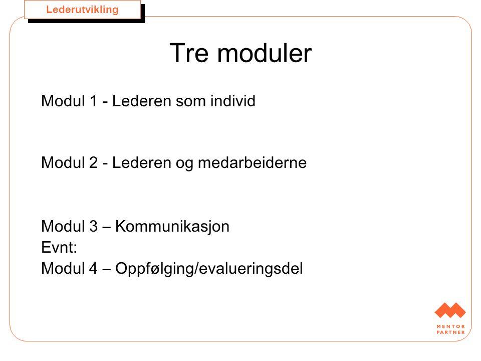 Lederutvikling Tre moduler Modul 1 - Lederen som individ Modul 2 - Lederen og medarbeiderne Modul 3 – Kommunikasjon Evnt: Modul 4 – Oppfølging/evaluer
