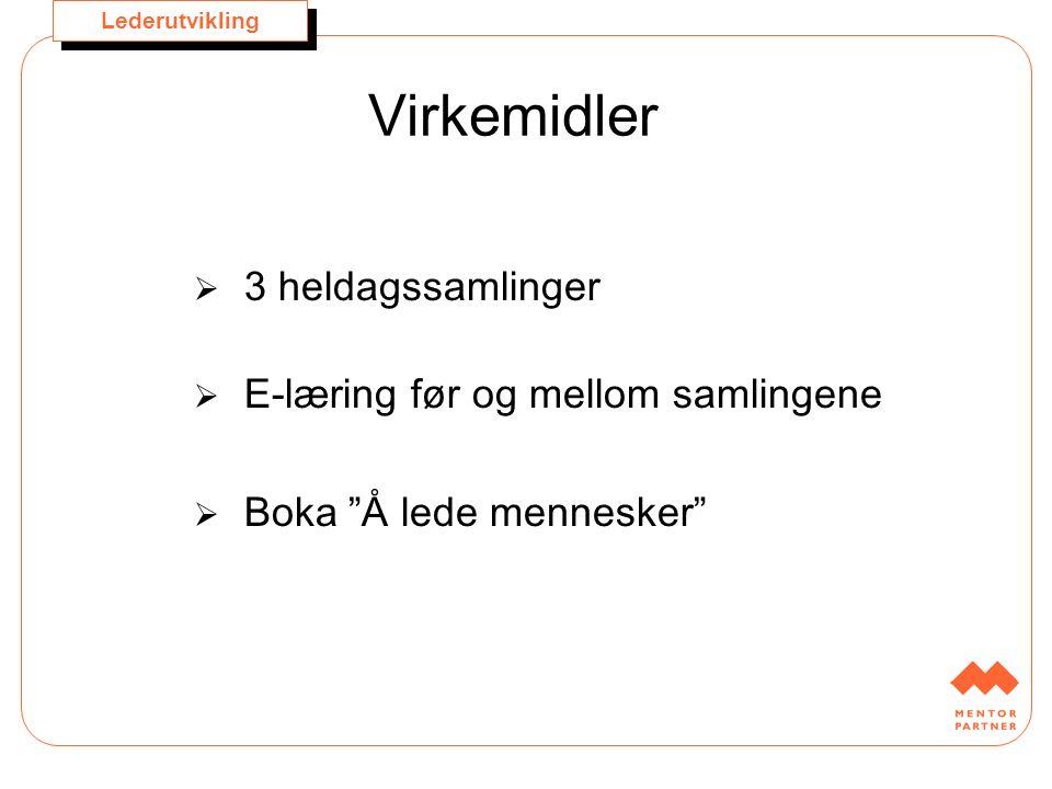 """Lederutvikling Virkemidler  3 heldagssamlinger  E-læring før og mellom samlingene  Boka """"Å lede mennesker"""""""