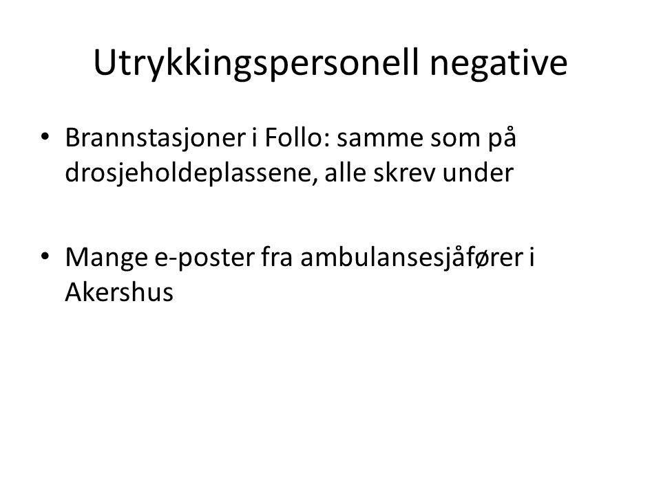 Utrykkingspersonell negative Brannstasjoner i Follo: samme som på drosjeholdeplassene, alle skrev under Mange e-poster fra ambulansesjåfører i Akershus
