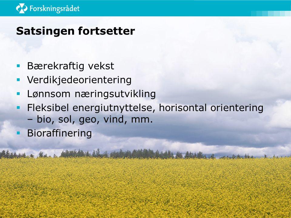 Satsingen fortsetter  Bærekraftig vekst  Verdikjedeorientering  Lønnsom næringsutvikling  Fleksibel energiutnyttelse, horisontal orientering – bio, sol, geo, vind, mm.