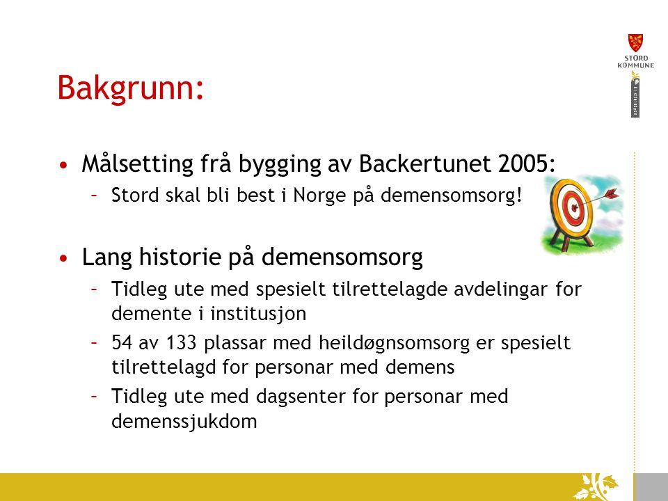 Bakgrunn: Målsetting frå bygging av Backertunet 2005: –Stord skal bli best i Norge på demensomsorg.