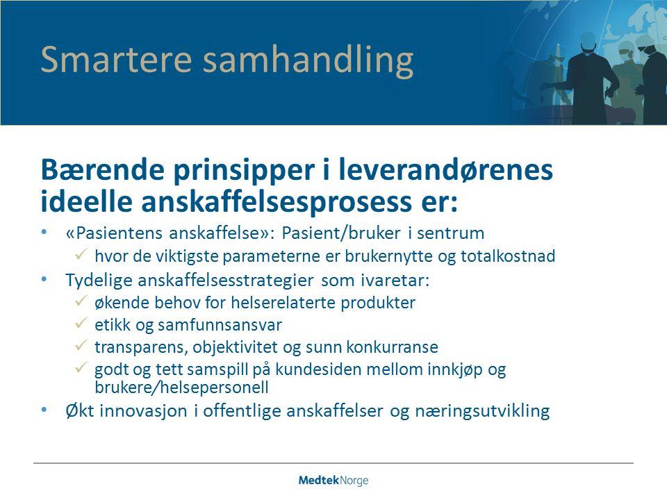 Bærende prinsipper i leverandørenes ideelle anskaffelsesprosess er: «Pasientens anskaffelse»: Pasient/bruker i sentrum hvor de viktigste parameterne e