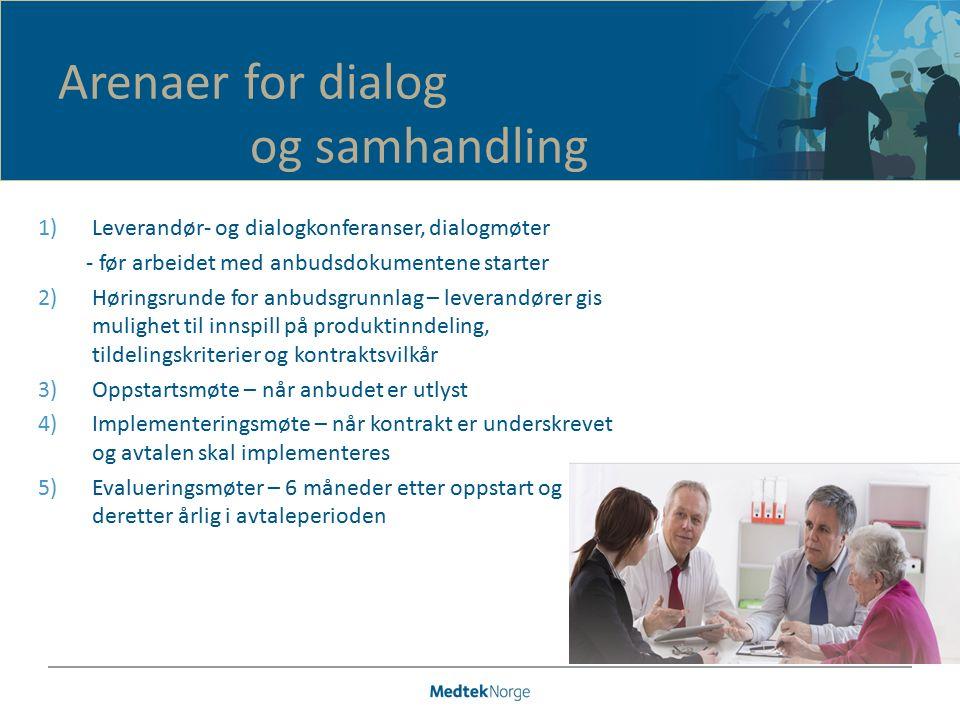 1)Leverandør- og dialogkonferanser, dialogmøter - før arbeidet med anbudsdokumentene starter 2)Høringsrunde for anbudsgrunnlag – leverandører gis muli