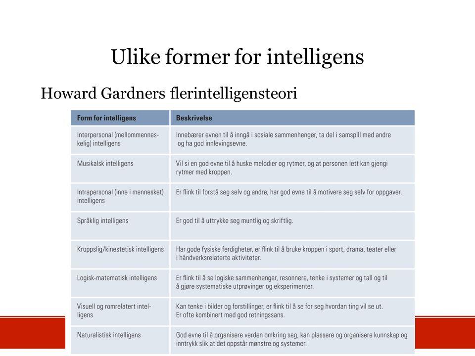 Ulike former for intelligens Howard Gardners flerintelligensteori