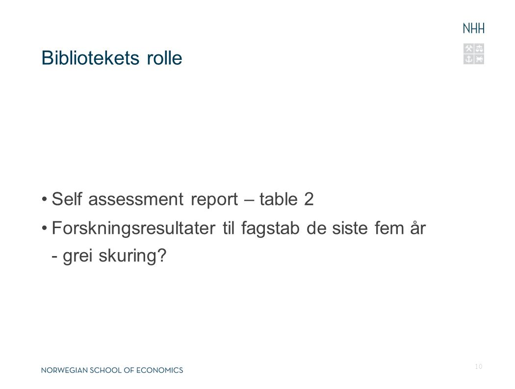 Bibliotekets rolle Self assessment report – table 2 Forskningsresultater til fagstab de siste fem år - grei skuring.