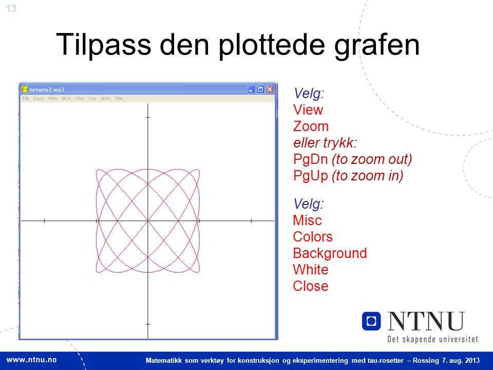 13 Matematikk som verktøy for konstruksjon og eksperimentering med tau-rosetter – Rossing 7. aug. 2013 Tilpass den plottede grafen Velg: View Zoom ell