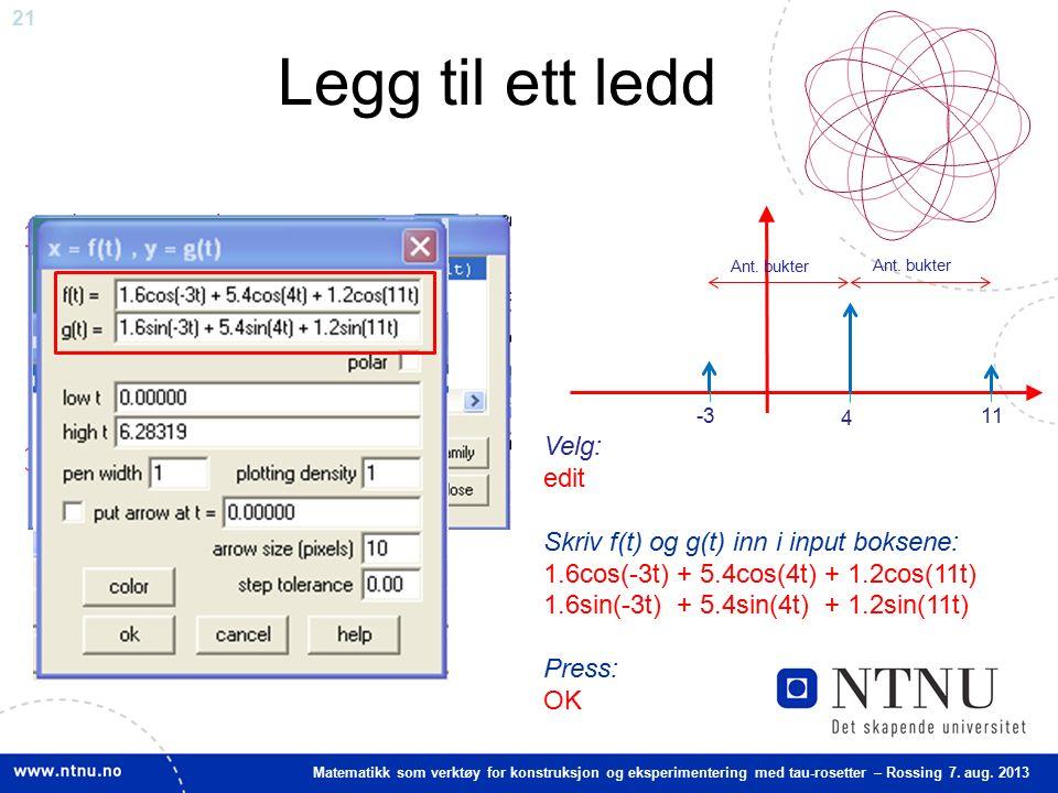 21 Matematikk som verktøy for konstruksjon og eksperimentering med tau-rosetter – Rossing 7. aug. 2013 Legg til ett ledd Velg: edit Skriv f(t) og g(t)